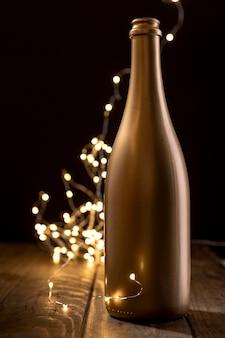 Bottiglia di champagne anniversario primo piano
