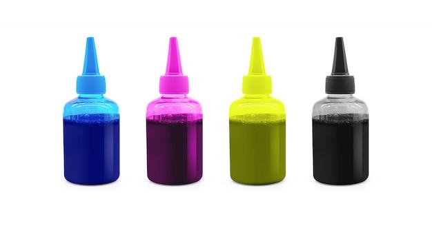 Bottiglia di inchiostro cmyk per macchina stampante isolata