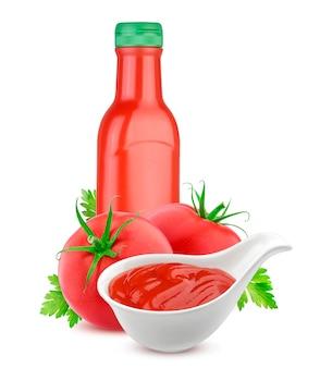 Bottiglia di ketchup di pomodoro e pomodori freschi