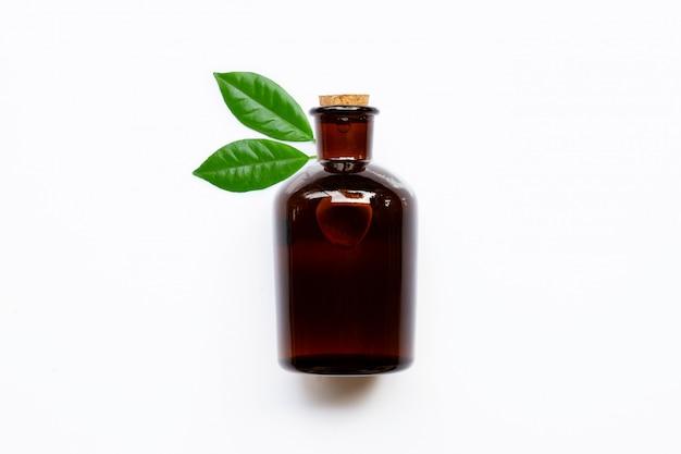 Bottiglia di olio essenziale con foglie verdi