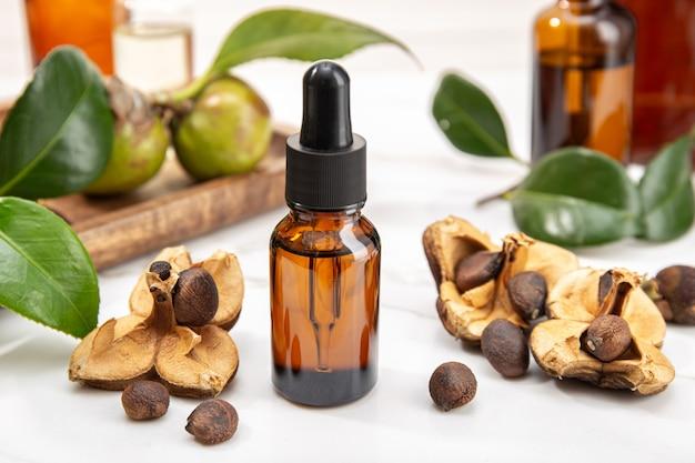 Bottiglia di olio essenziale di camelia e semi di camelia. bellezza, cura della pelle, benessere