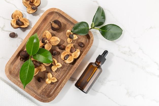 Bottiglia di olio essenziale di camelia e semi di camelia sul vassoio in legno. bellezza, cura della pelle, benessere