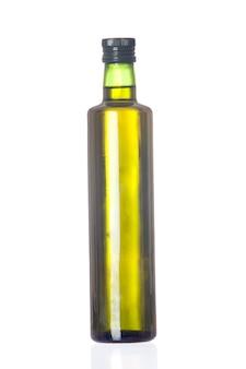 Bottiglia di olio isolata su un fondo bianco eccessivo