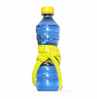 Bottiglia di plastica con metro, dieta