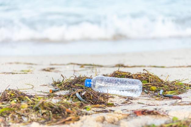 Bottiglia di plastica con tappo lavato sulla spiaggia mescolata con alghe
