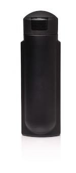 Bottiglia di plastica nera con shampoo maschile