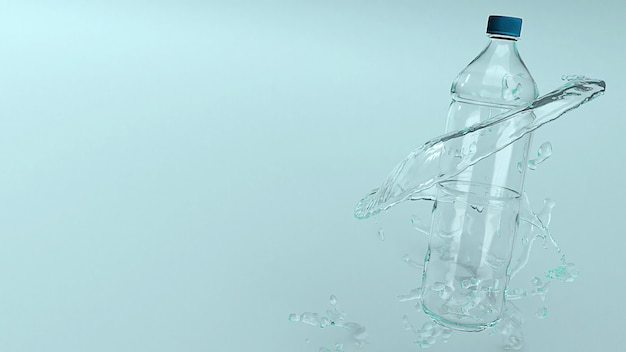 Bottiglia di plastica per la rappresentazione di concetto 3d di eco.