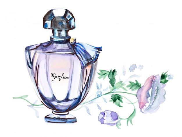 Bottiglia di profumo, illustrazione disegnata a mano dell'acquerello di modo isolata su un bianco