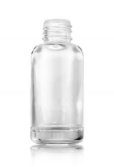 Bottiglia di siero di vetro trasparente per prodotti cosmetici isolati su bianco