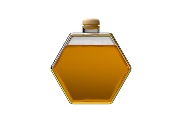 Bottiglia di vetro trasparente esagono giallo miele colore rendering 3d