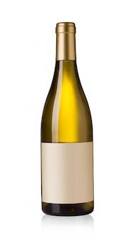 Bottiglia di vino bianco con etichette vuote