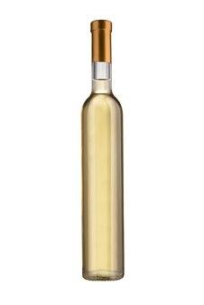 Bottiglia di vino bianco isolata su priorità bassa bianca con il percorso di residuo della potatura meccanica