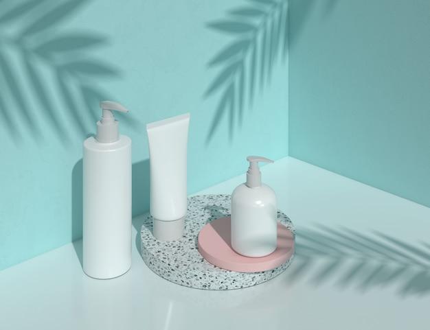 Bottiglia in bianco cosmetica naturale che imballa nel concetto blu astratto della stazione termale e di bellezza, rappresentazione 3d.