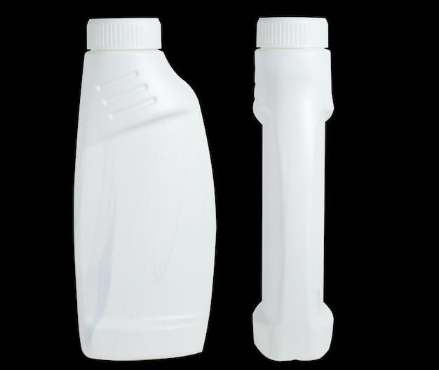 Bottiglia isolata in plastica bianca per smacchiatore. imballaggio detergente. anteriore, vista laterale.