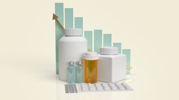 Bottiglia medica della droga e grafico per la rappresentazione 3d del contenuto di salute.