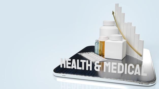 Bottiglia medica della droga e grafico sulla compressa per la rappresentazione 3d del contenuto di salute dell'applicazione.