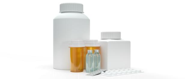 Bottiglia medica della droga per la rappresentazione 3d del contenuto di salute.