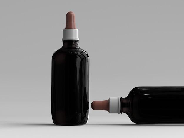 Bottiglie di contagocce grandi di colore ambra resi 3d senza un'etichetta