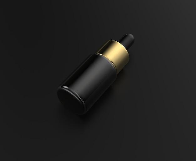 Bottiglie di siero di plastica nere di alta qualità con rendering 3d di tappo nero