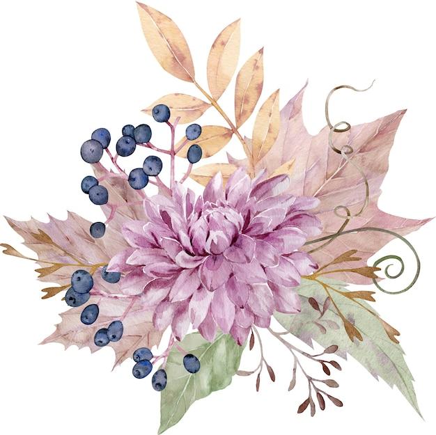 Bouquet floreale di caduta dell'acquerello.