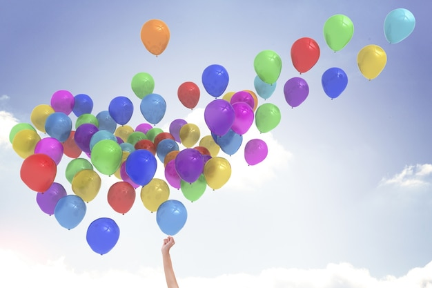 Braccio palloncini rilasciando