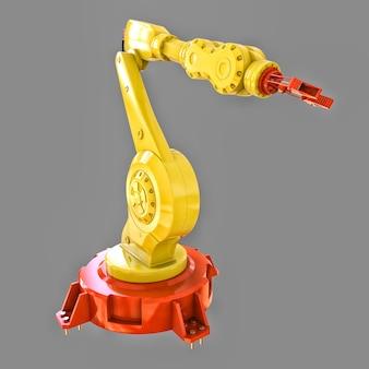Braccio robotizzato giallo per qualsiasi lavoro in fabbrica o produzione. attrezzature meccatroniche per compiti complessi