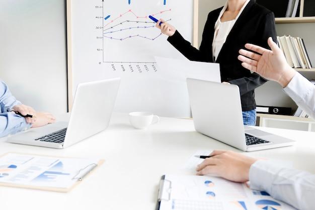 Brainstorming del gruppo di affari che discute prestazione di vendita sul bordo bianco mentre presentazione