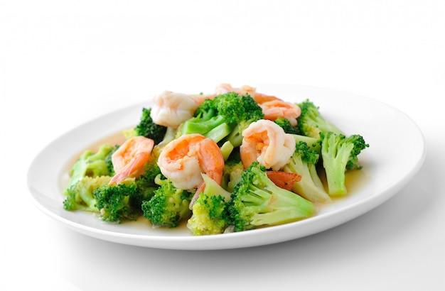 Broccoli in padella dell'alimento sano tailandese con gamberetto