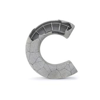 Broken concrete alphabet c