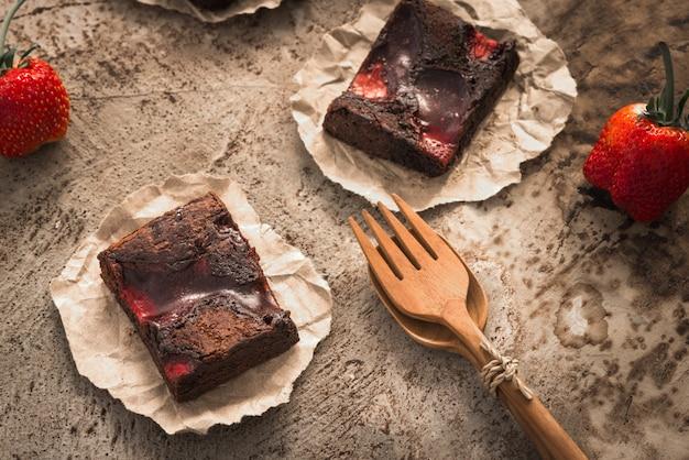 Brownies alla fragola cioccolato cibo