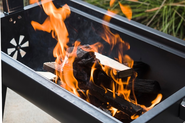 Bruciare carbone di legna nella griglia del barbecue