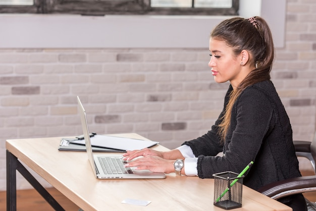 Bruna imprenditrice usando il portatile