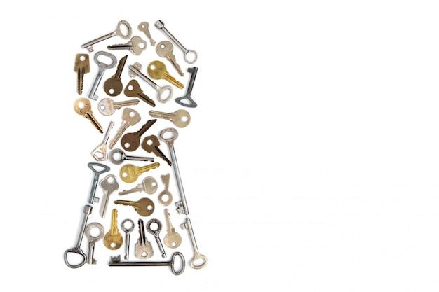 Buco della serratura delle chiavi isolato.