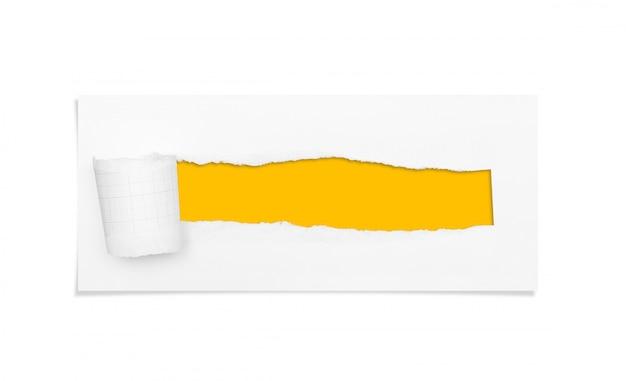 Buco strappato e strappato di carta con area di copia spazio per il testo.