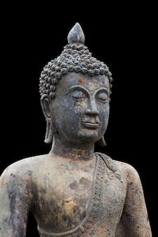 Buddismo per statue o modelli isolati su sfondo nero con tracciato di ritaglio