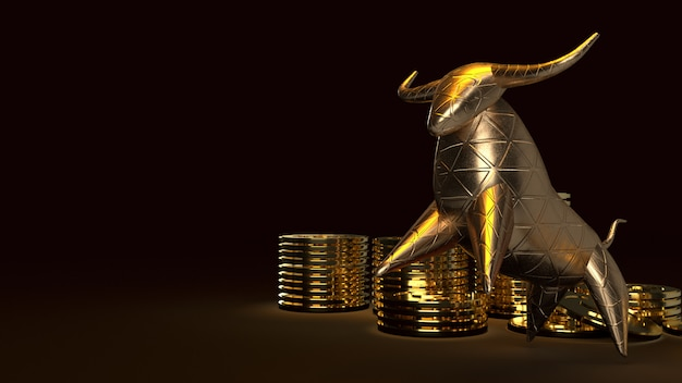 Bull oro e procioni d'oro, rendering 3d su oscurità