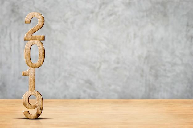 Buon anno 2019 nella stanza di legno del pavimento e del muro di cemento di prospettiva, concetto di festa