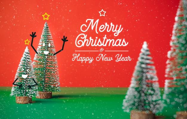 Buon natale e felice anno nuovo auguri con albero di natale con sorriso faccia emozione doodle