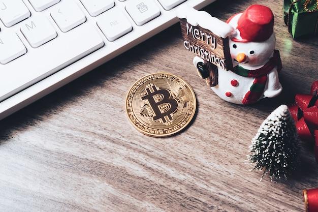 Buon natale e felice anno nuovo criptovaluta bitcoin