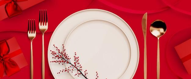 Buon natale, felice anno nuovo e san valentino. contenitore di regalo e stoviglie rossi su rosso. illustrazione di rendering 3d.