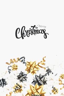 Buon natale oro design creativo su uno sfondo bianco.