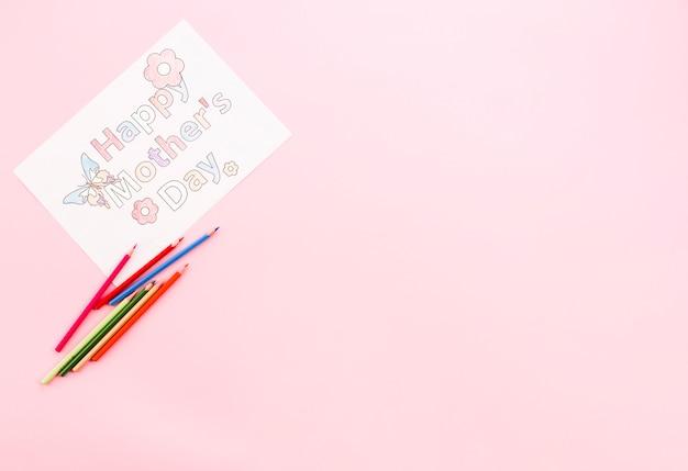 Buona festa della mamma, disegno su carta con matite luminose