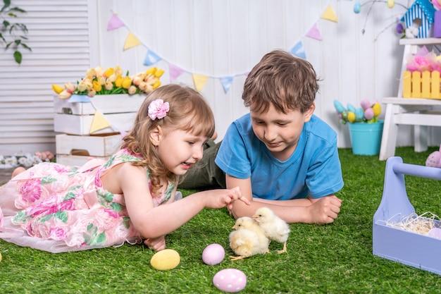 Buona pasqua! bambini svegli che si trovano sull'erba con le uova e che accarezzano i piccoli pulcini