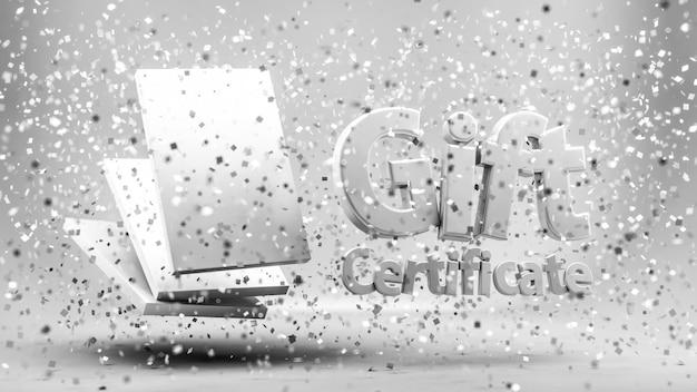Buono regalo, certificato, anno nuovo, natale, festivo. rendering 3d.