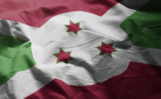 Burundi flag rumpled close up
