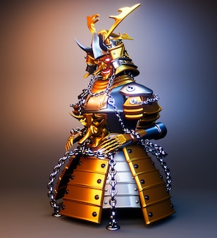 Bushido armor- samurai guerriero armatura in stile giapponese. rendering 3d