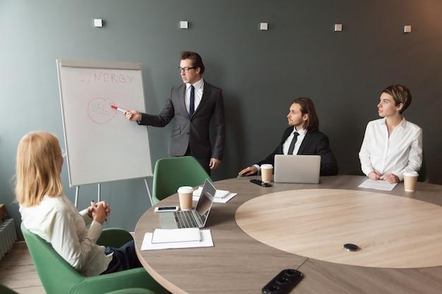 Business coach degli altoparlanti fiducioso dà presentazione alla squadra con lavagna a fogli mobili