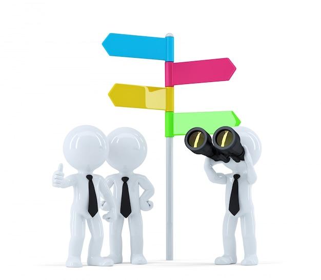 Business team con binocolo davanti a un segno di direzione. concetto di affari. isolato su bianco