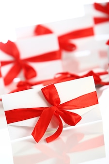 Busta regalo con fantastico fiocco rosso