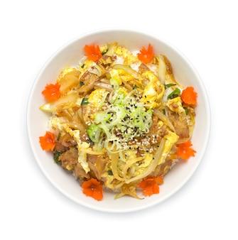 Butadon o mescolare maiale fritto e uovo su riso